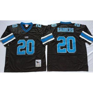 Barry Sanders Black Stitched Jersey